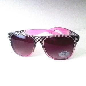 Pink Checkerboard Sunglasses UV400 Protection